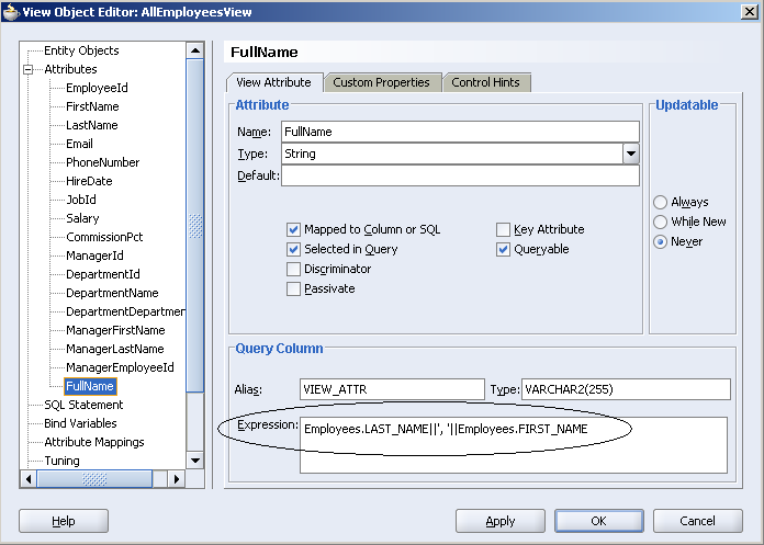 Using a general superclass to refresh SQL-calculated attributes in your dirty ADFBC View Object