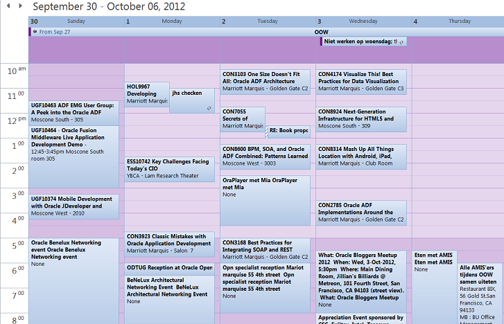 OOW 2012: My ADF OOW 2012 schedule