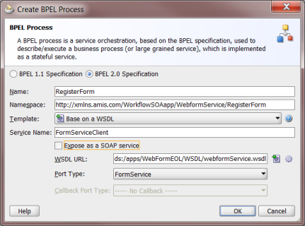 create bpel process using mds resource