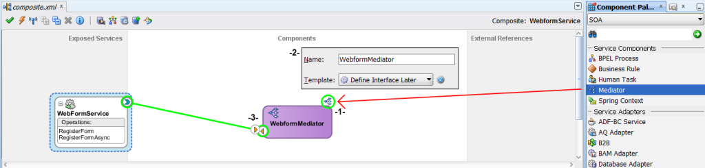 wire mediator to exposed service
