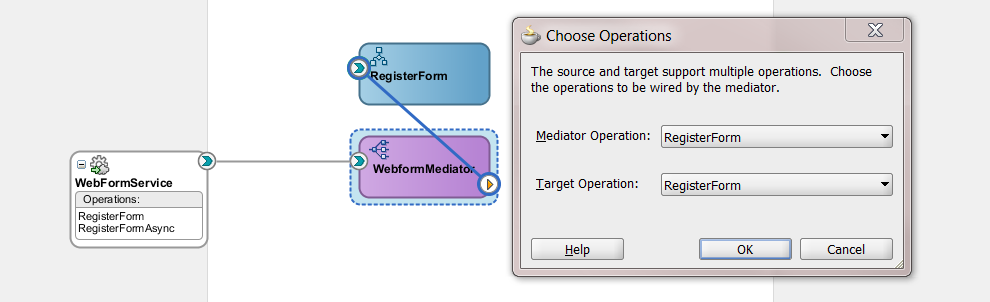 wire mediator to bpel component