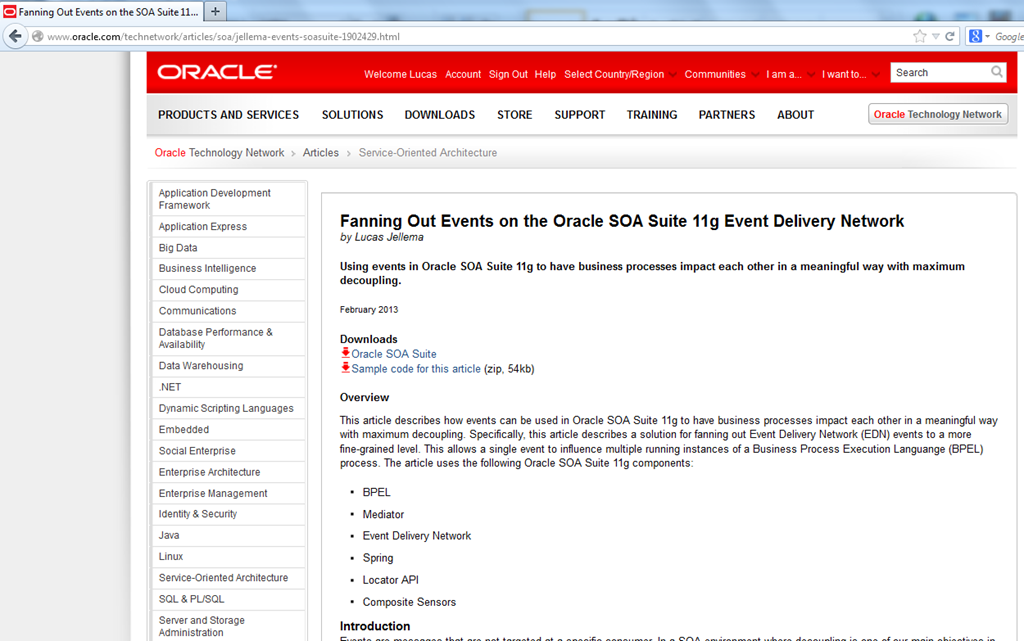 Fanning Out Events on the Oracle SOA Suite 11g Event Delivery Network