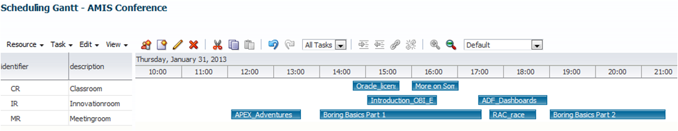 ADF DVT Speed Date: Adding Drag & Drop to the Resource Schedule Gantt Chart to create a live presentation scheduler