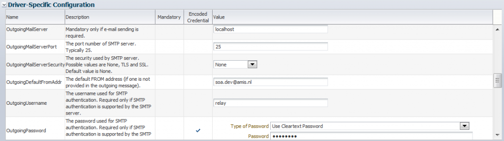UMS Email Driver specific settings: outgoing mailserver