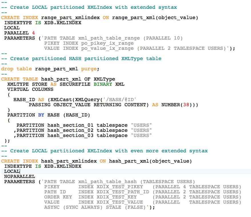 Oracle Database 12c: XMLIndex Support for Hash Partitioning