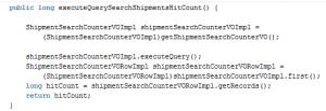 executeQuerySearchShipmentsHitCount