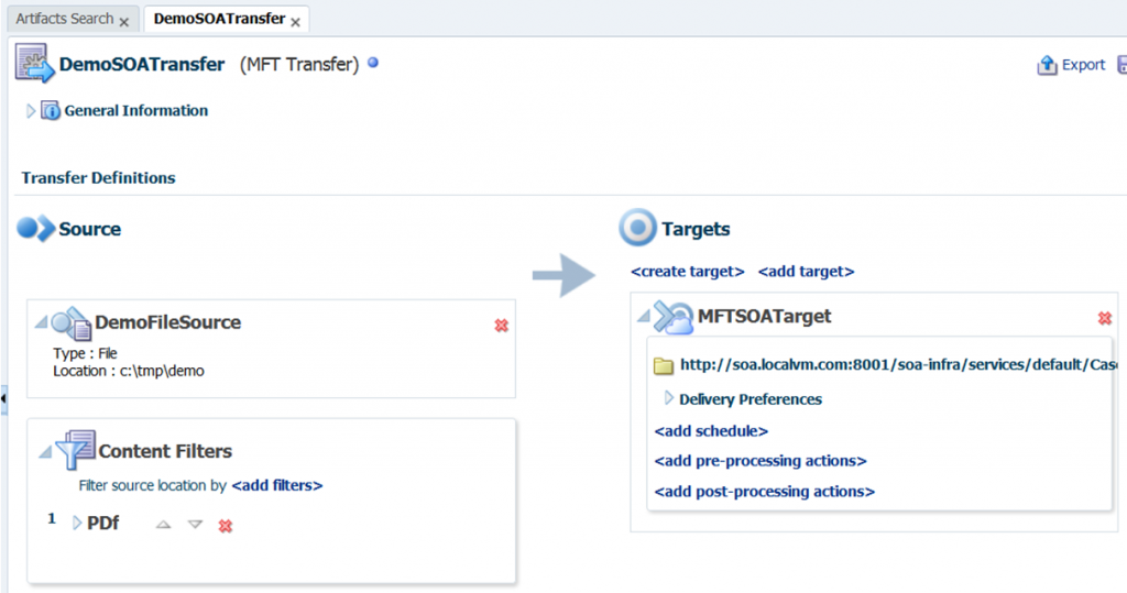 MFT 12c: create a transfer between a source and target