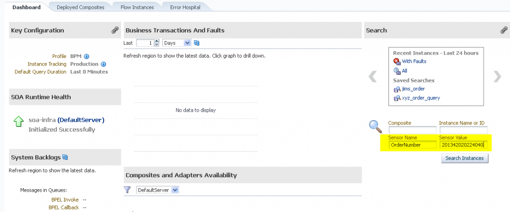 SOA Suite 12c: Search on Sensors