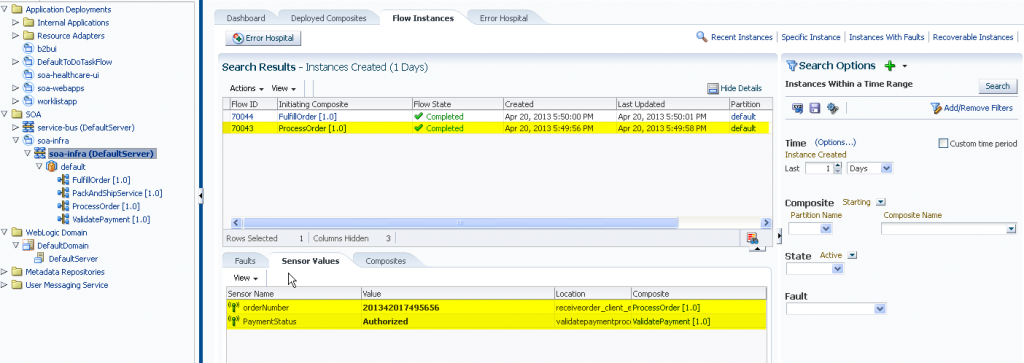 SOA Suite 12c: Sensor Values