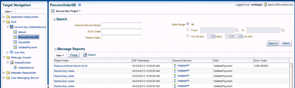 Service Bus 12c: EM Message Reports