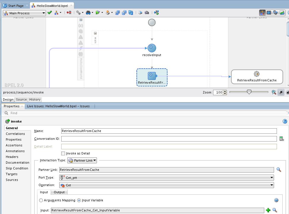 SOA Suite 12c: Property window for inspecting and editing BPEL activities