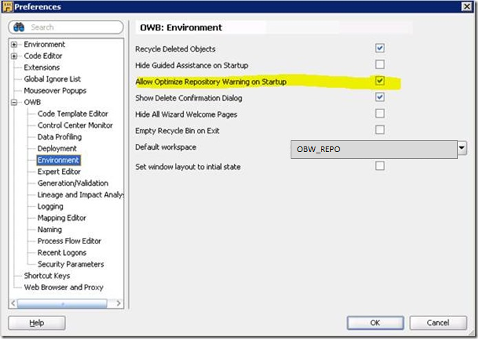 The Performance-button on Oracle Warehouse Builder Design