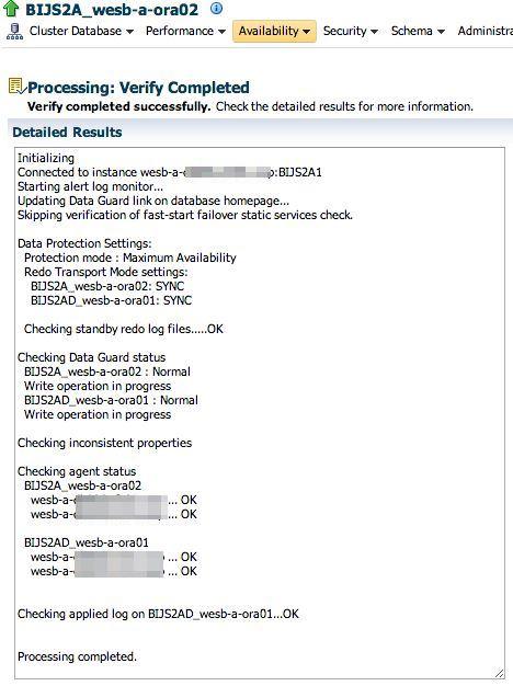 BIJS2A Data Guard verify configuration