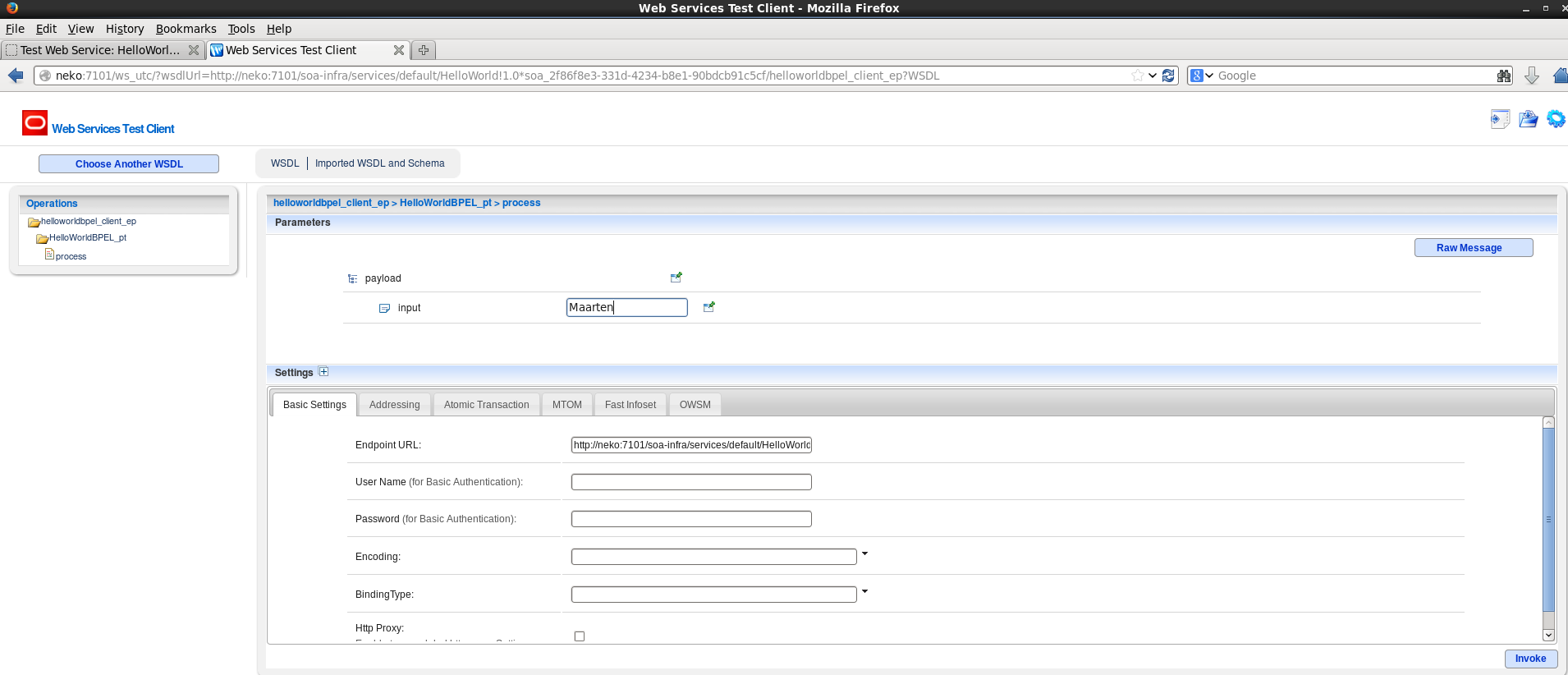 The webservice test client can be opened on development mode servers by  accessing an endpoint in