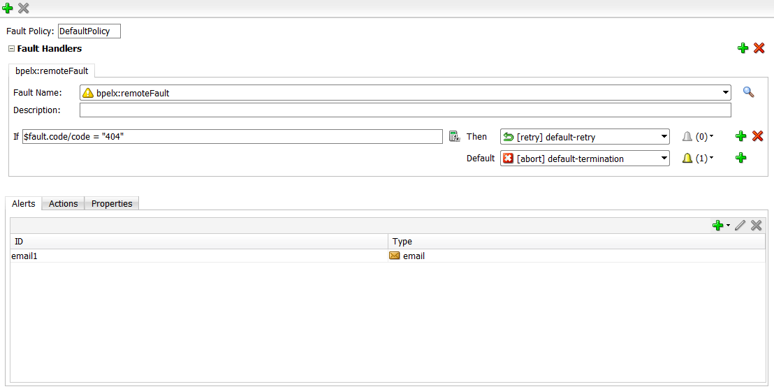 SOA Suite 12c: New visual editor for creating Fault Policies