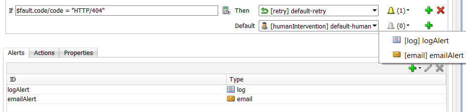 12c Fault Policies Editor: Send Alerts on action