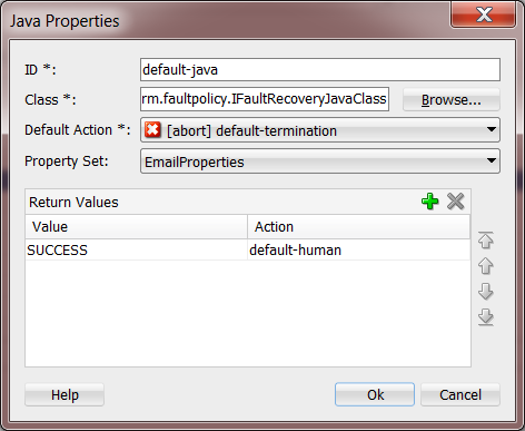 12c Fault Policies Editor: Java Action
