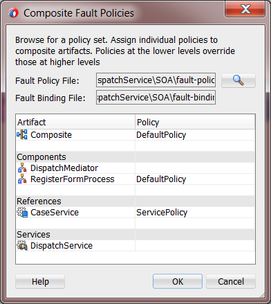 12c Fault Policies Editor: Assign Policies