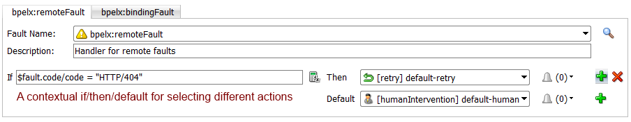 12c Fault Policies Editor: Add multiple actions