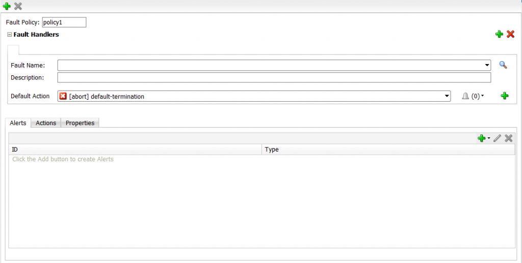 12c Fault Policies Editor: Start with clean Template