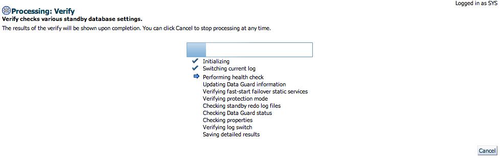 Verify configuration progress