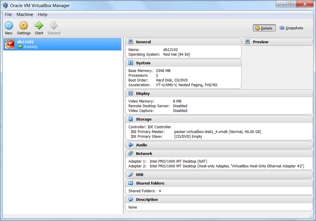Quick generation of a VirtualBox VM with Oracle Database