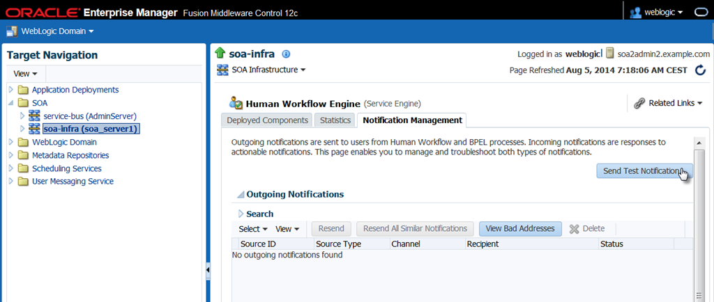 Setup GMail as mail provider for SOA Suite 12c - configure SMTP