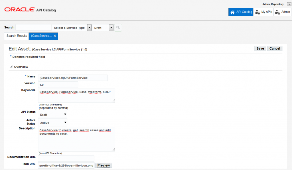 OAC12c: On the Edit Asset page details like, keyword, description and version can be changed