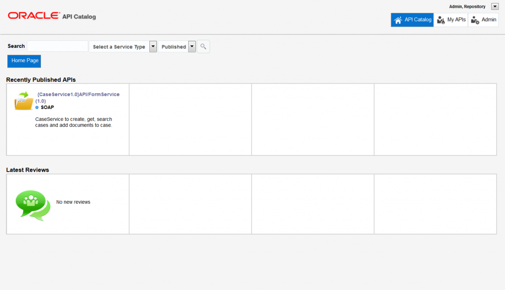 OAC12c: Dashboard listing recently published APIs