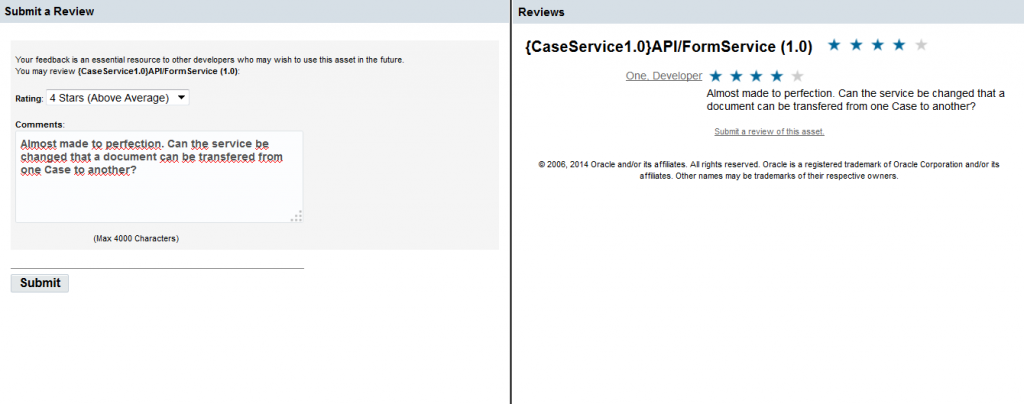 OAC12c: Submit a Review and viewing API reviews