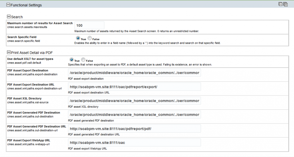 OAC12c: Functional Settings - Search results and PDF generation