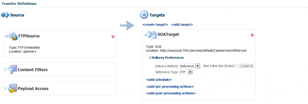 MFT 12c: Add SOA Target to new Transfer