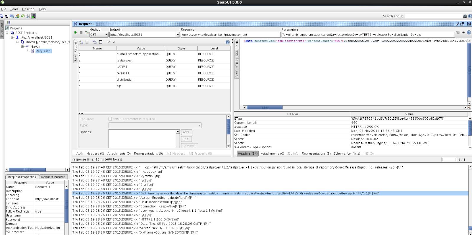Sonatype Nexus: Retrieving artifacts using the REST API or