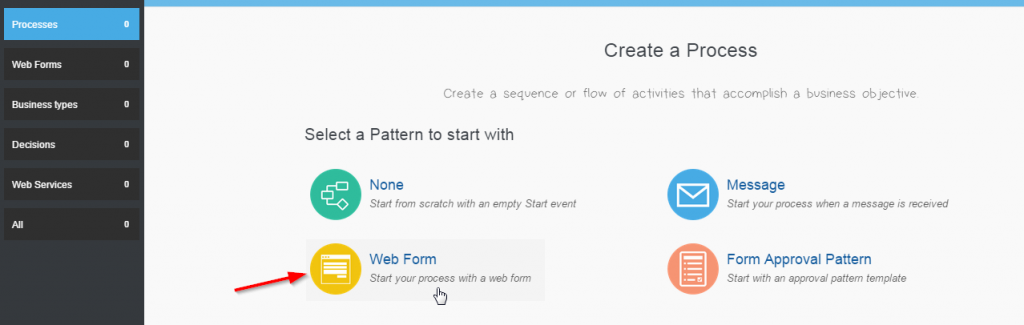 Start your process with a web form