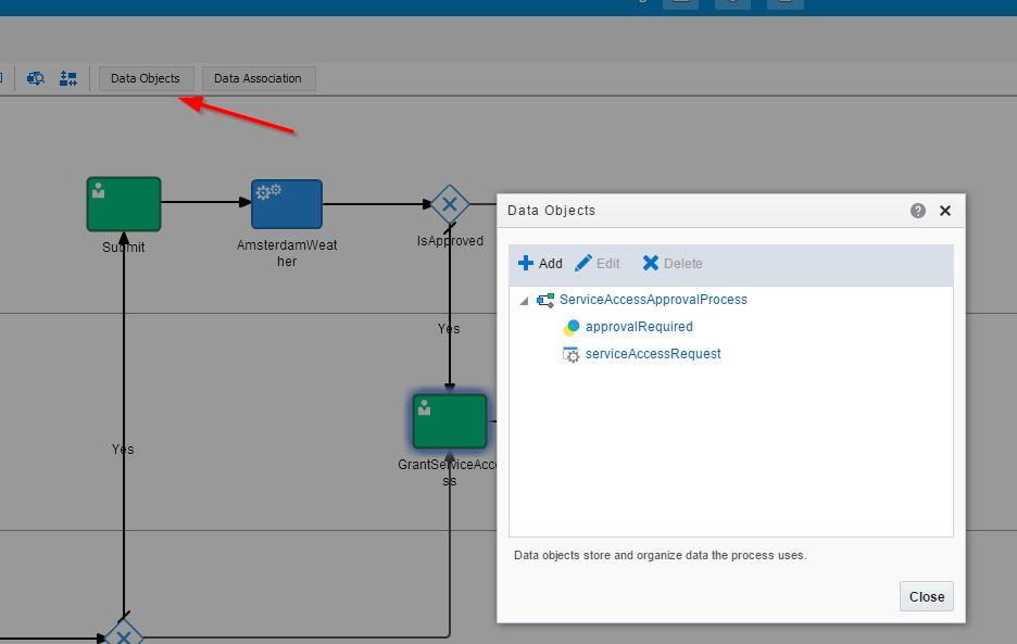 Add the process data objects