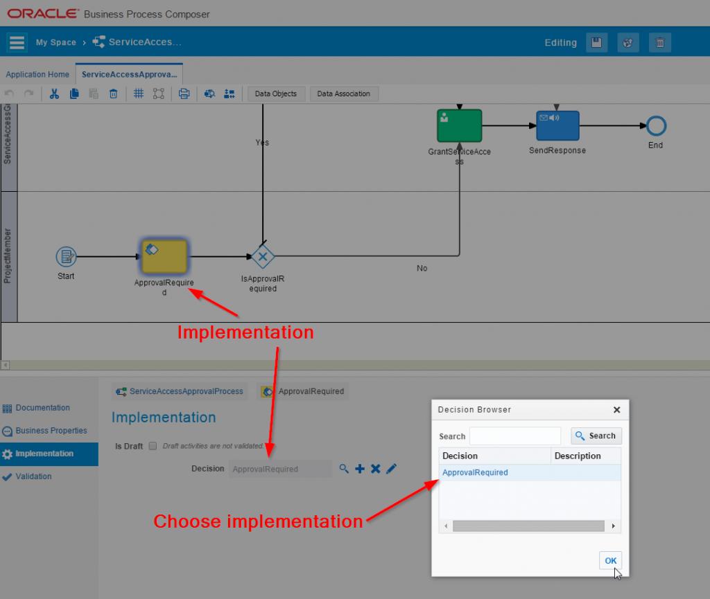 Link decision implementation