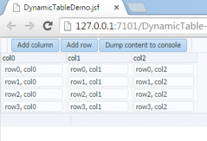 Dynamic table with three columns and four rows.