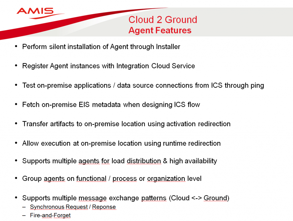 Integration Cloud Service - Agent Features
