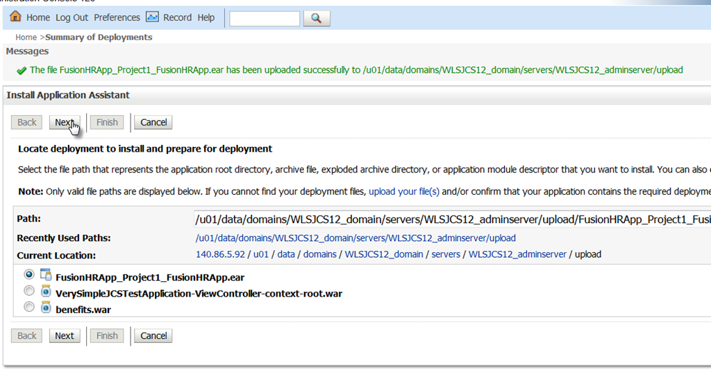 Developing for and Deploying an ADF Web Application to the