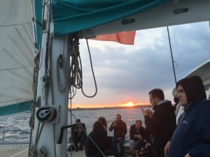 Sunset during sailing trip