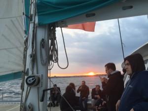 Sunset during sailing trip