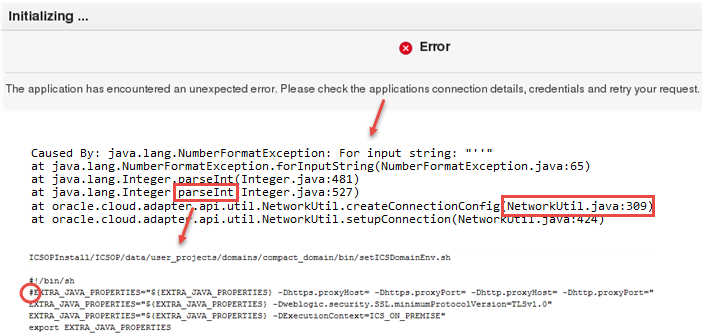 Integration Cloud Service (ICS): Execution Agent proxy issue: NumberFormatException