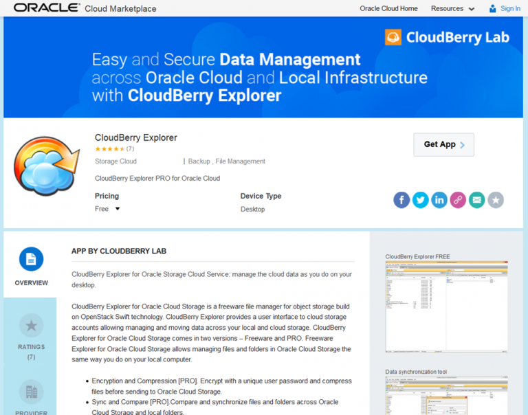 Graphical file explorer tool on top of Oracle Storage Cloud Service – CloudBerry for easy file inspection and manipulation