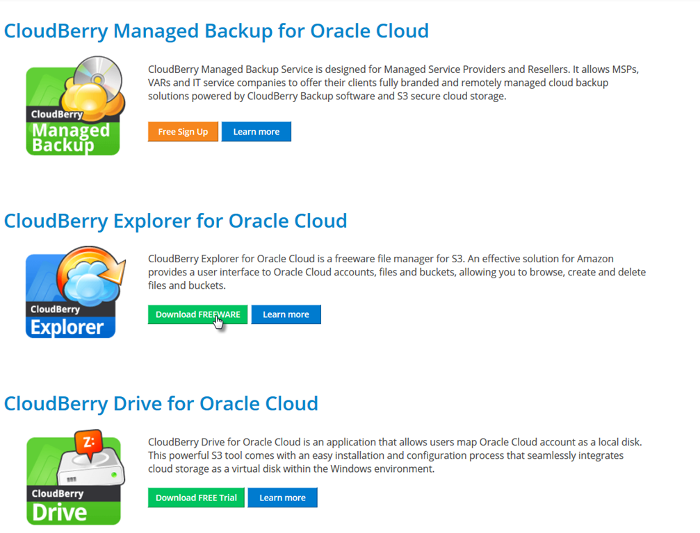 Graphical file explorer tool on top of Oracle Storage Cloud