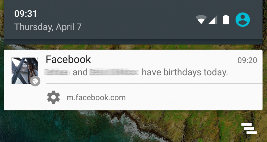 An example of Facebook web notifications on Android, as you can see the source is the website: m.facebook.com.