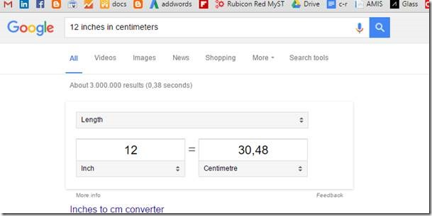 use google search to convert metrics