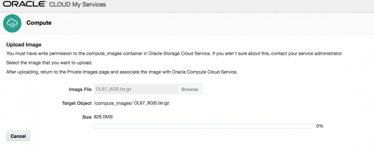 Oracle Compute Cloud – Uploading My Image – Part one