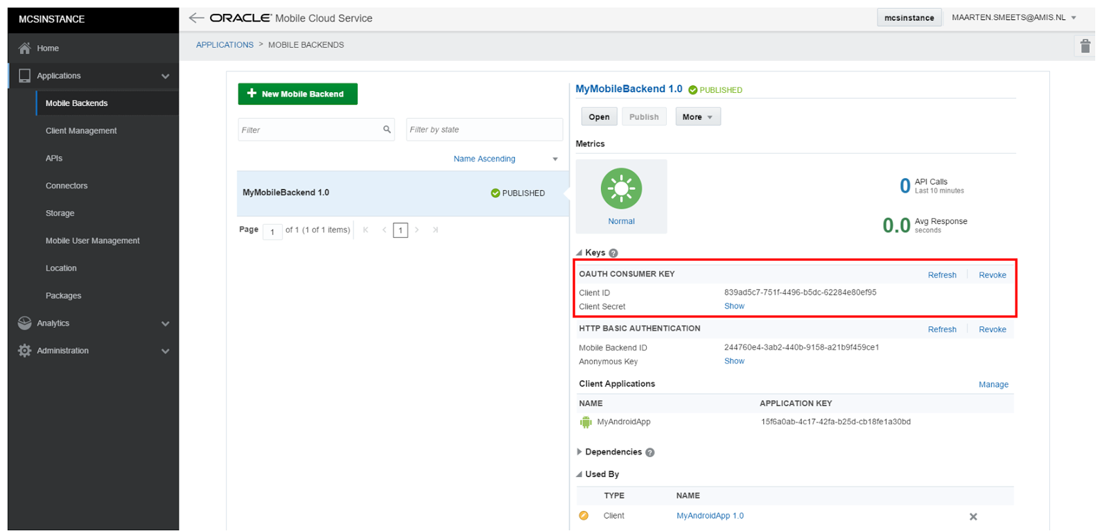 Oracle Mobile Cloud Service (MCS): An introduction to API