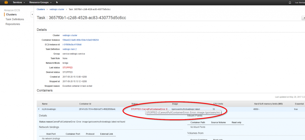 Docker, WebLogic Image on Amazon EC2 Container Service - AMIS Oracle