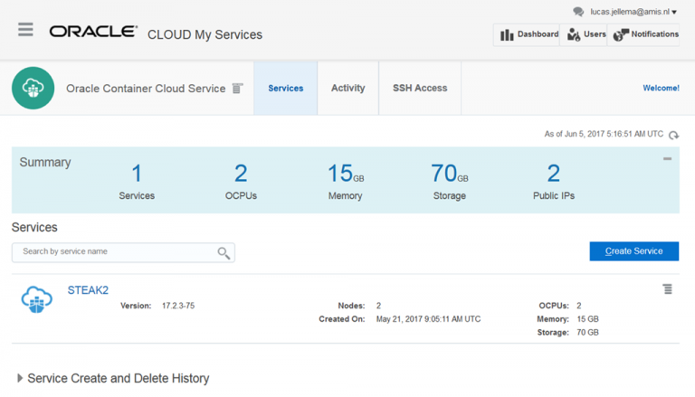 Running any Node application on Oracle Container Cloud Servicer